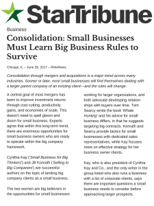 Consolidation: Small Businesses Must Learn Big Business Rules to Survive pg1